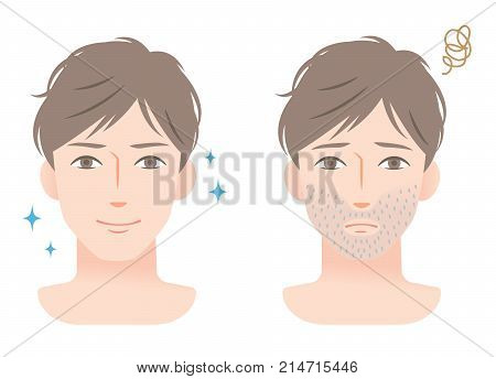 young male with stubble beard before and after shaving. skin care and beauty concept