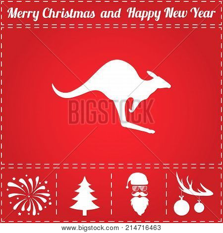 Kangaroo Icon Vector. And bonus symbol for New Year - Santa Claus, Christmas Tree, Firework, Balls on deer antlers