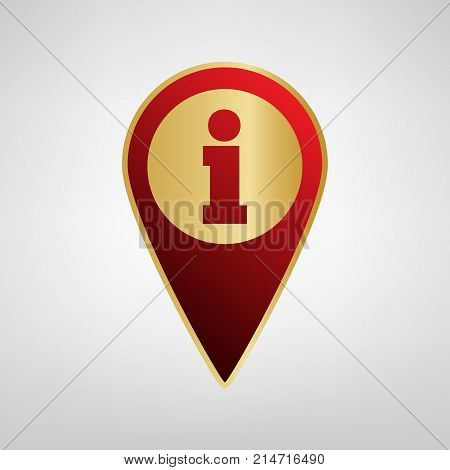 Map pointer with information sign. Vector. Red icon on gold sticker at light gray background.