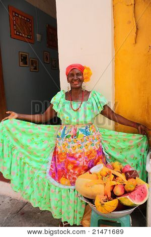 Fruit Seller In Cartagena, Colombia