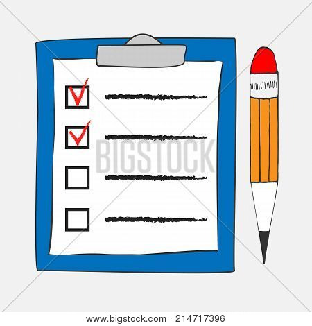 Checklist icon in doodle sketch lines. Office report information. Sketch hand with clipboard checklist and pen isolated on white background vector illustration. Checklist and pencil tick