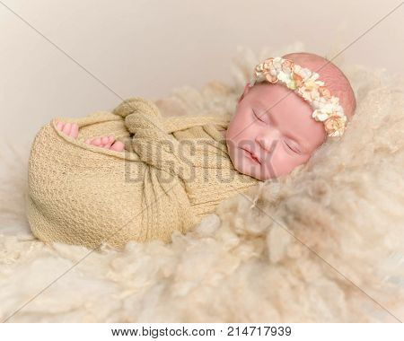 Newborn girl sleeping, wrapped up with a blanket
