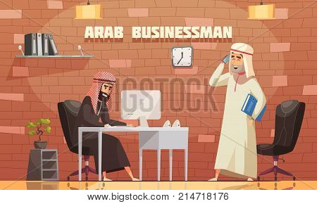 Arab businessman in traditional long white robe talking on smartphone in his office cartoon poster vector illustration