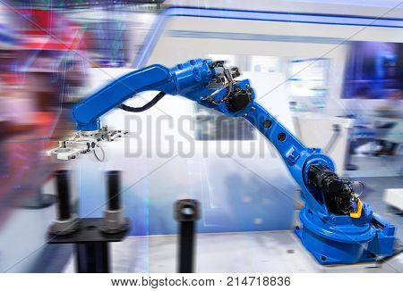 robotic machine tool in industrial manufacture plant,Smart factory industry 4.0 concept.