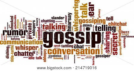 Gossip word cloud concept. Vector illustration on white