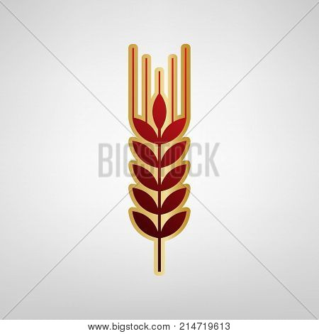 Wheat sign illustration. Spike. Spica. Vector. Red icon on gold sticker at light gray background.