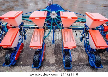 Agriculture machinery. Working parts of modern pneumatic seeder.