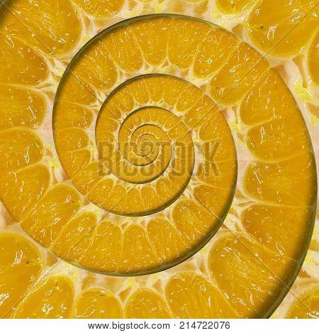 Orange slice spiral swirl abstract fractal background. Orange slice spiral background pattern. Impossible abstract orange food fractal background. Surreal orange fruit swirl abstract fractal