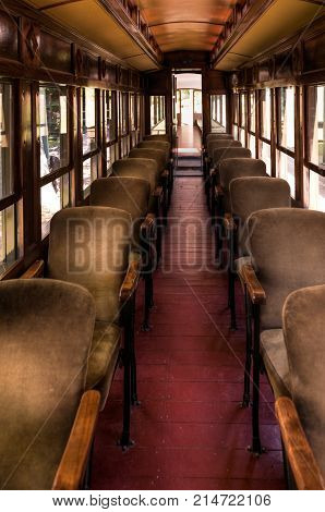 Vintage Railway Coach Seats - empty seats
