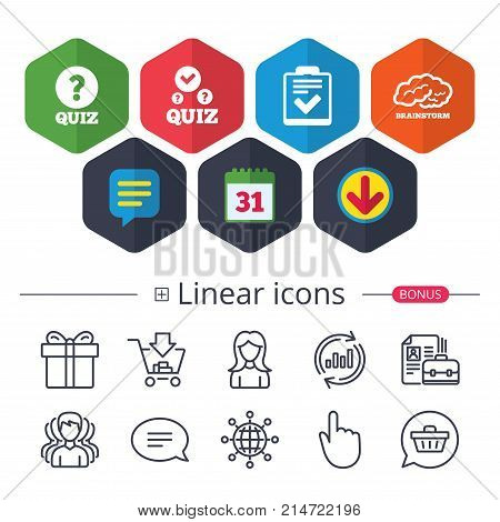 Calendar, Speech bubble and Download signs. Quiz icons. Human brain think. Checklist with check mark symbol. Survey poll or questionnaire feedback form sign. Chat, Report graph line icons. Vector