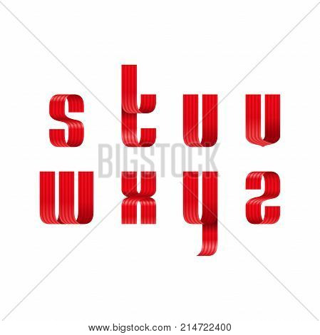 S, T, U, V, W, X, Y, Z Lowercase Letters Font From A Red Ribbon With Strip And Smooth Curves And Sha