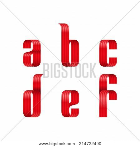 A, B, C, D, E, F Lowercase Letters Font From A Red Ribbon With Strip And Smooth Curves And Shadows