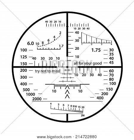 Optical sight crazy scale set. Sniper weapon view vector illustration. Military fun circle frame with blurred edge of transparent lense. Graduated reticle cross hair measuring range finder.