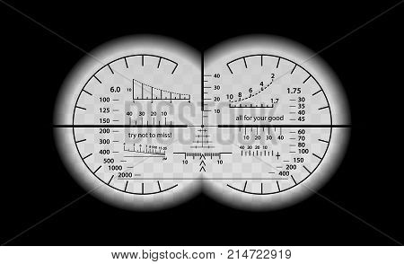 Crazy binocular scale set. Military fun vector illustration. Humour view in optical sight weapon. Circles frame with blurred edge of twin lenses. Graduated reticle cross hair measuring range finder.