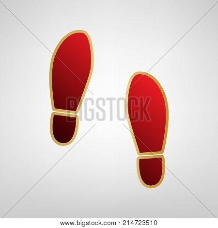 Imprint soles shoes sign. Vector. Red icon on gold sticker at light gray background.