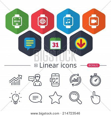 Calendar, Speech bubble and Download signs. Smart watch icons. Wrist digital time watch symbols. Music, Video, Globe internet and wi-fi signs. Chat, Report graph line icons. More linear signs. Vector