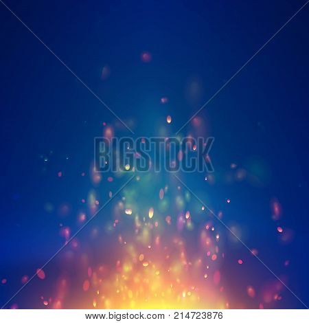 Flame vector background with sparks particles. Colorful fire blaze sparkling. Fiery magic blaze lighting