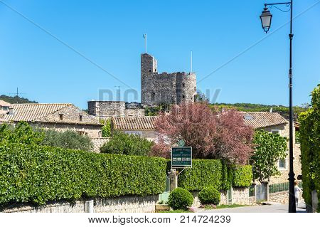 AIGUEZE FRANCE - APRIL 28 2016: The fortress of the village of Aigueze a small village located south of France in the department of Gard of the french region Languedoc-Roussillon.