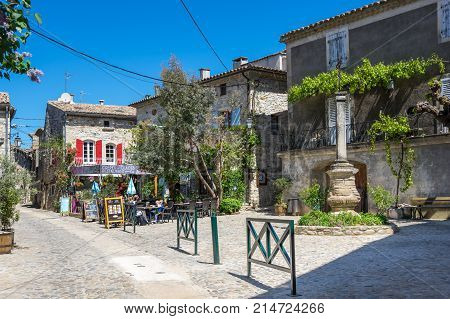 AIGUEZE FRANCE - APRIL 28 2016: The street of the village of Aigueze a small village located south of France in the department of Gard of the french region Languedoc-Roussillon.