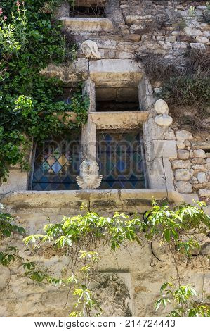 The house in the village of Aigueze a small village located south of France in the department of Gard of the french region Languedoc-Roussillon.
