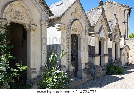 AIGUEZE FRANCE - APRIL 28 2016: The cemetery of the village of Aigueze a small village located south of France in the department of Gard of the french region Languedoc-Roussillon.