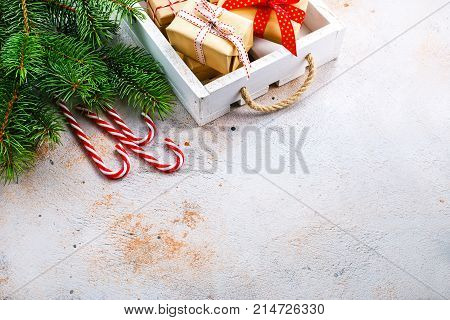 christmas background, christmas objects on a table, stock photo