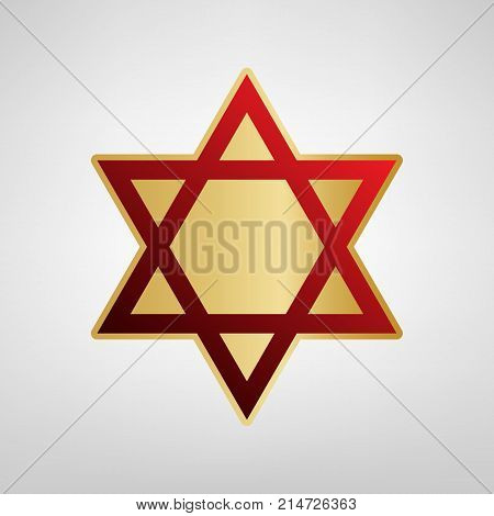 Shield Magen David Star. Symbol of Israel. Vector. Red icon on gold sticker at light gray background.