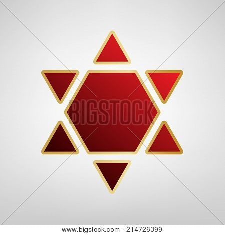 Shield Magen David Star Inverse. Symbol of Israel inverted. Vector. Red icon on gold sticker at light gray background.