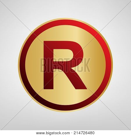 Registered Trademark sign. Vector. Red icon on gold sticker at light gray background.