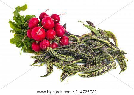 Fresh Borlotti Beans, Radish And Ather Vegetable On A White Backgronud