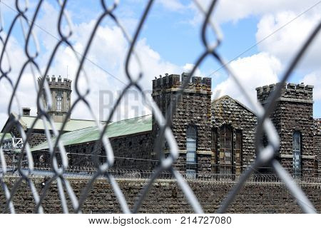 The old Mt Eden prison in Auckland New Zealand. The historic prison has housed prisoners in New Zealand since 1888 and in 2000 it became New Zealand's first privately run prison.