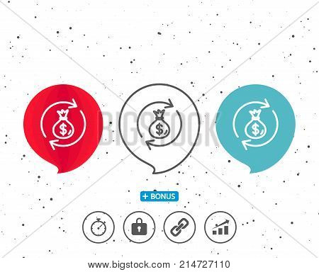 Speech bubbles with symbol. Cash exchange line icon. Dollar money bag symbol. Money transfer sign. Bonus with different classic signs. Random circles background. Vector