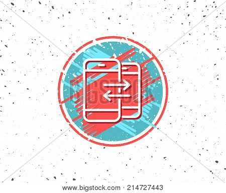 Grunge button with symbol. Phone Communication line icon. Incoming and Outgoing call sign. Conversation or SMS symbol. Random background. Vector