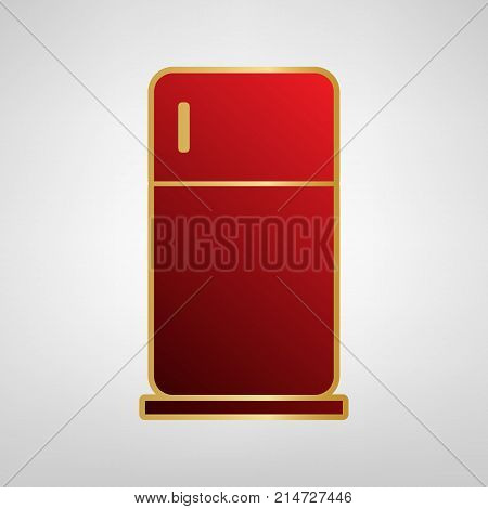 Refrigerator sign illustration. Vector. Red icon on gold sticker at light gray background.