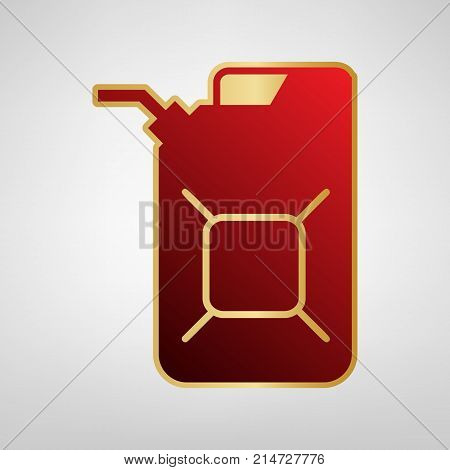 Jerrycan oil sign. Jerry can oil sign. Vector. Red icon on gold sticker at light gray background.
