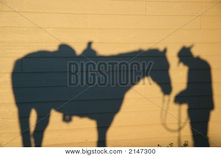 Horse Shadow With Cowboy Praying