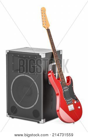 Electric guitar with concert loudspeaker 3D rendering isolated on white background