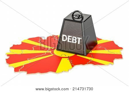 Macedonian national debt or budget deficit financial crisis concept 3D rendering