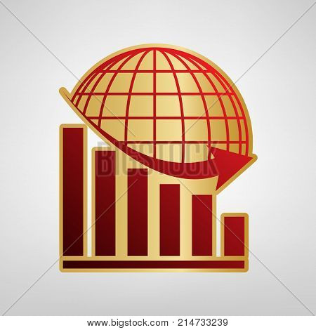 Declining graph with earth. Vector. Red icon on gold sticker at light gray background.