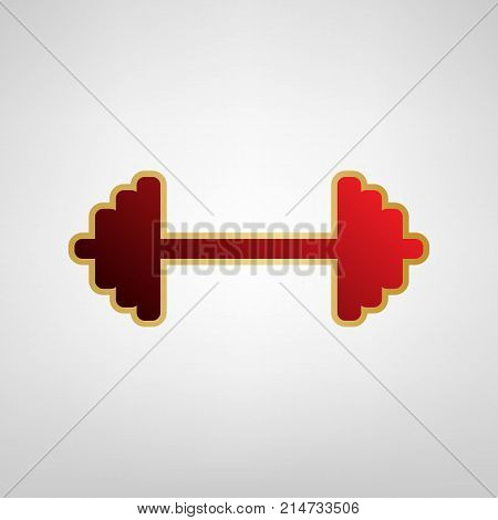 Dumbbell weights sign. Vector. Red icon on gold sticker at light gray background.