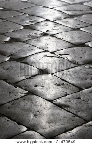 Black cobblestone street in Old Dubrovnik (Croatia)