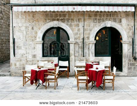 Street cafe in old town (Dubrovnik, Croatia)