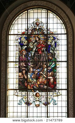 Stained-glass window of The Basilica de Nuestra Senora de los Angeles (Cartago, Costa Rica)