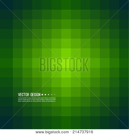 Abstract background with rhythmic overlapping squares. Transition and gradation of color. Vector blend gradient for illustrations, covers and flyer. Pixel green.