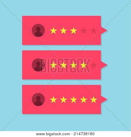 Review rating bubble speeches. Concept of testimonial messages, notification alerts, feedback evaluation. Vector illustration.