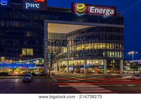 GDANSK POLAND - October 11 2017: Modern buildings architecture of Olivia Business Center in Gdansk Poland. Olivia Business Centre is the largest office centre in Gdansk and Northern Poland.