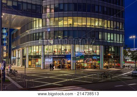 GDANSK POLAND - October 11 2017: Modern buildings architecture of Olivia Business Center in Gdansk Poland. Olivia Business Centre is the largest office centre in Gdansk and Northern Poland by night.