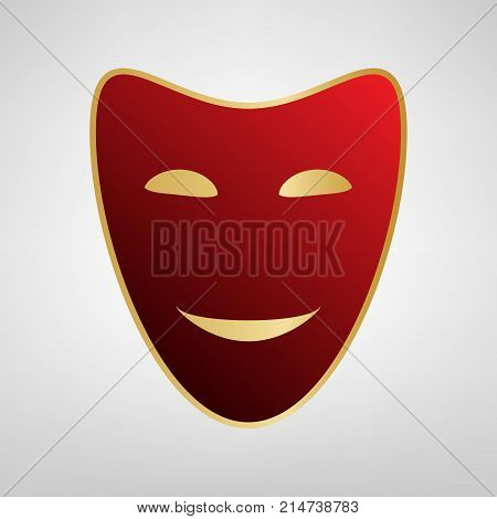 Comedy theatrical masks. Vector. Red icon on gold sticker at light gray background.