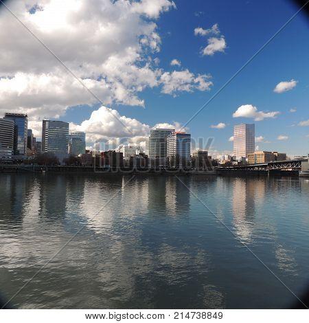 downtown Portland, Oregon across the Willamette River in sunshine