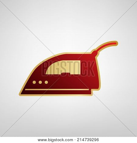 Smoothing Iron sign. Vector. Red icon on gold sticker at light gray background.